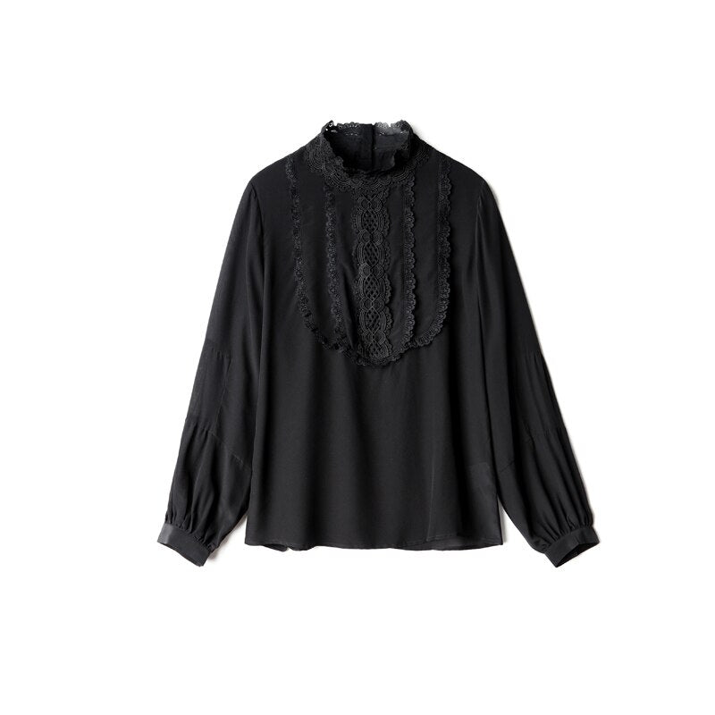 100% Pure Silk Women's Shirts Stand Collar Long Sleeves Embroidery Floral Elegant Fashion Casual Blouse Tops - Source Silk