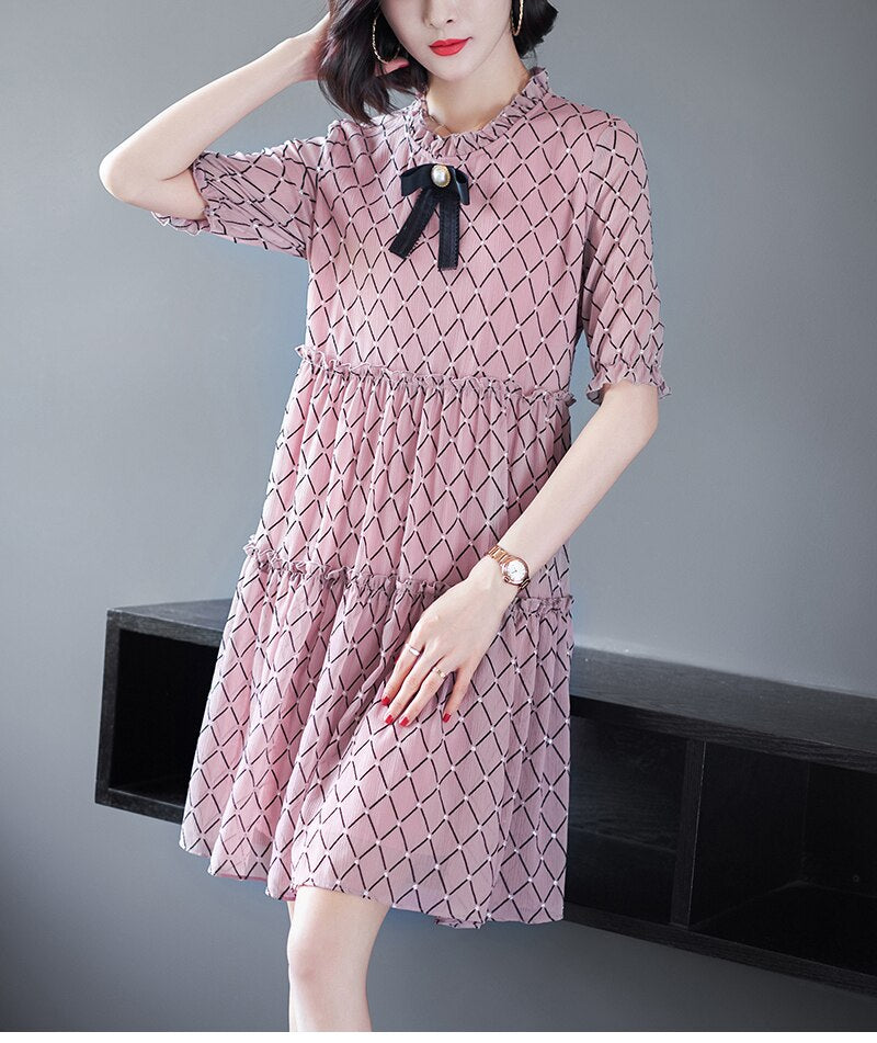 Bow Collar Chiffon Dress - Source Silk