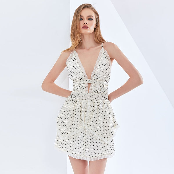 Sexy Polka Dot Slip Dress For Women Sleeveless High Waist Party Sling Dresses Female Fashion Womens Clothing 2021