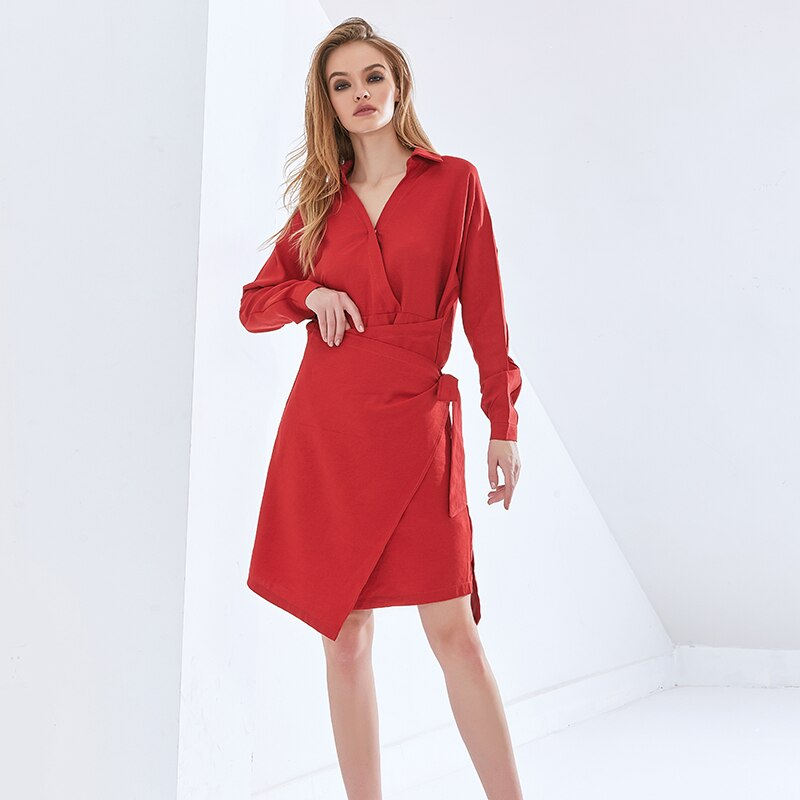 Solid Dress For Women V Neck Long Sleeve High Waist Lace Up Oversize Casual Dresses Female  Autumn Clothes