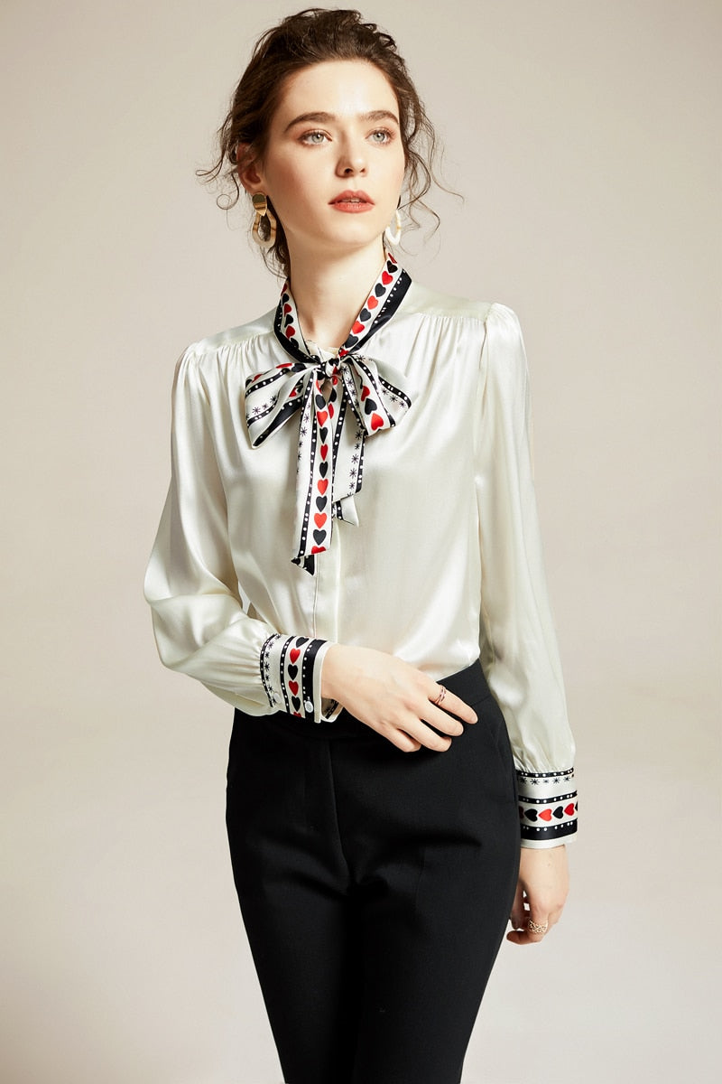 100% Silk Women's Shirt Printed Bow Collar Long Sleeves Elegant Spring Summer Shirt Blouse Top - Source Silk