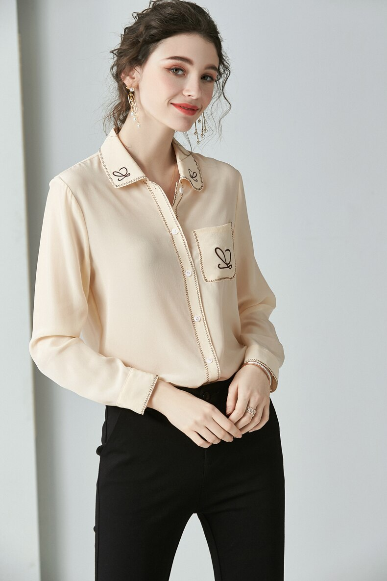 100% Pure Silk Women's Runway Shirt Turn Down Collar Long Sleeves Embroidery Elegant Fashion Blouse Shirt - Source Silk