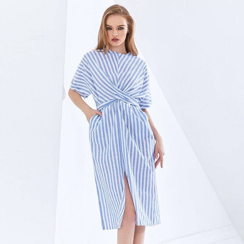 Elegant Striped Dress For Women O Neck Short Sleeve High Waist Lace Up Split Korean Dresses Female Fashion New Tide