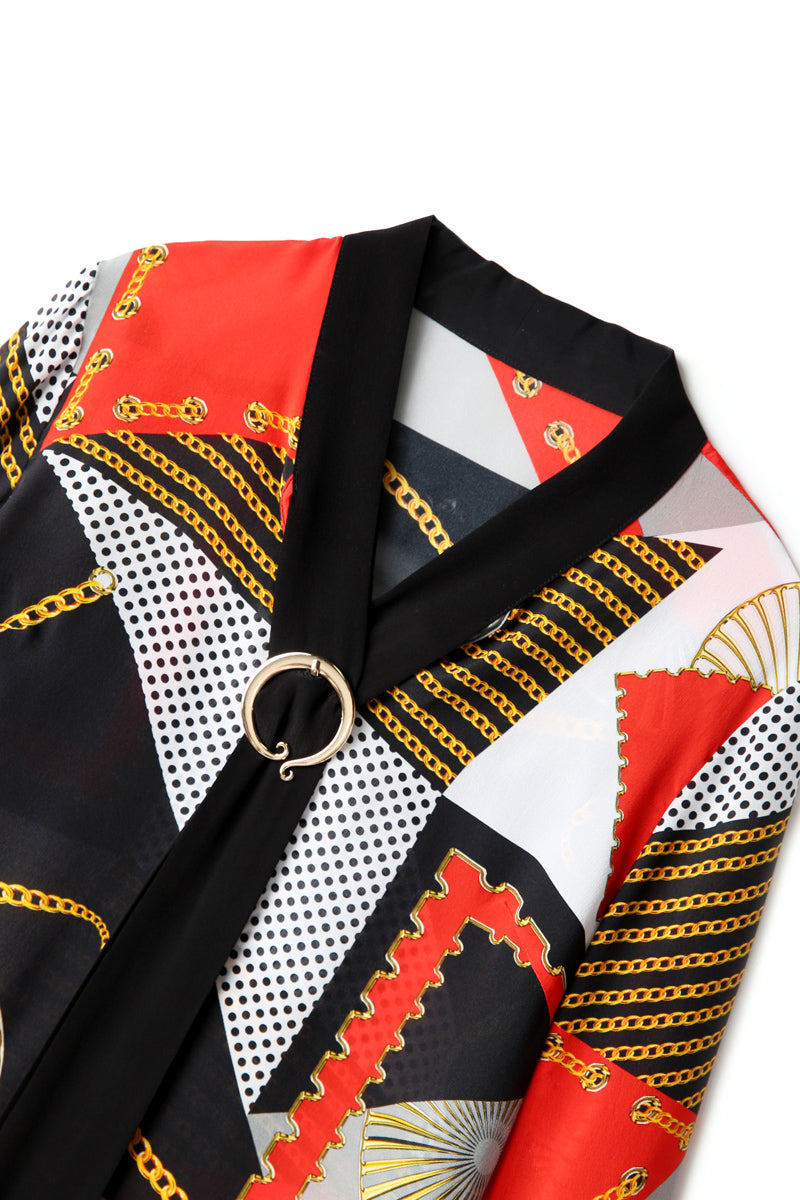 Bold Geometric Patterned Silk Blouse - Source Silk