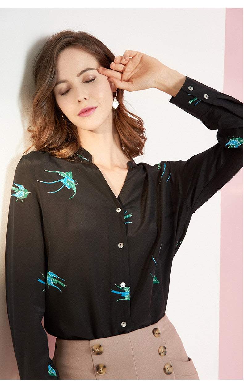 Playful Graphic Blouse - Source Silk