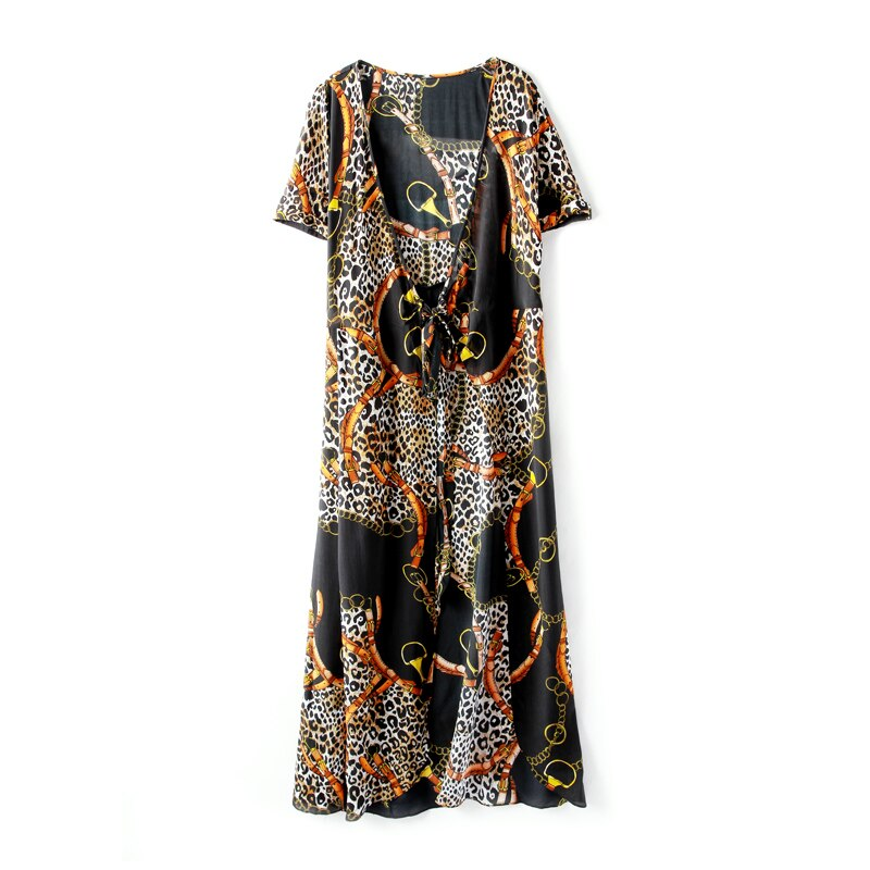 100% Silk Women's Dresses Sexy V Neck Short Sleeves Leopard Printed Sash Belt Fashion Casual Quality Dresses - Source Silk