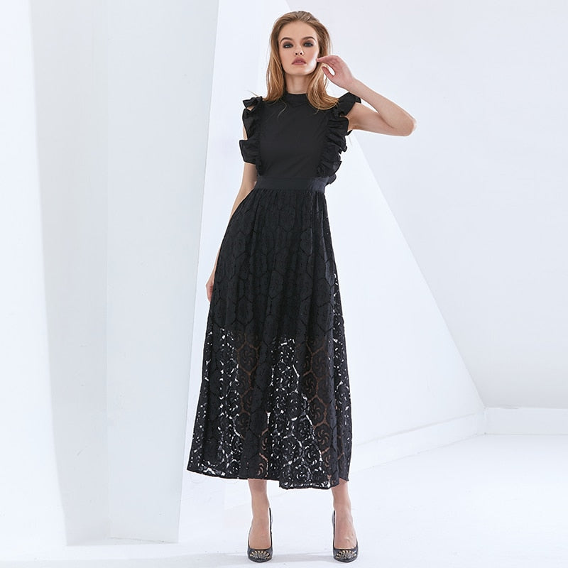 Elegant Patchwork Ruffle Lace Dress For Women Sleeveless High Waist Oversized Dresses Female 2021 Womens Clothing