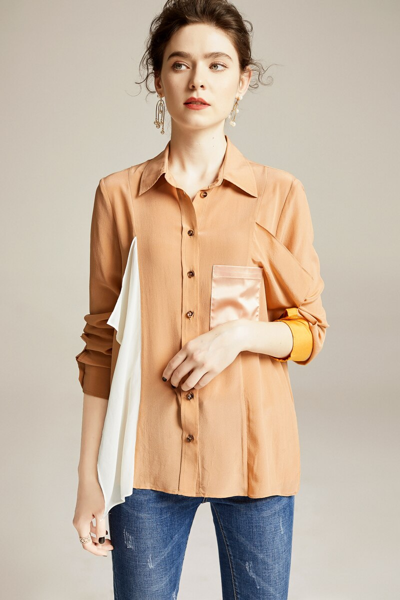 100% Pure Silk Women's Shirts Turn Down Collar Long Sleeves Ruffles Patchwork Fashion Casual Blouse Shirt - Source Silk
