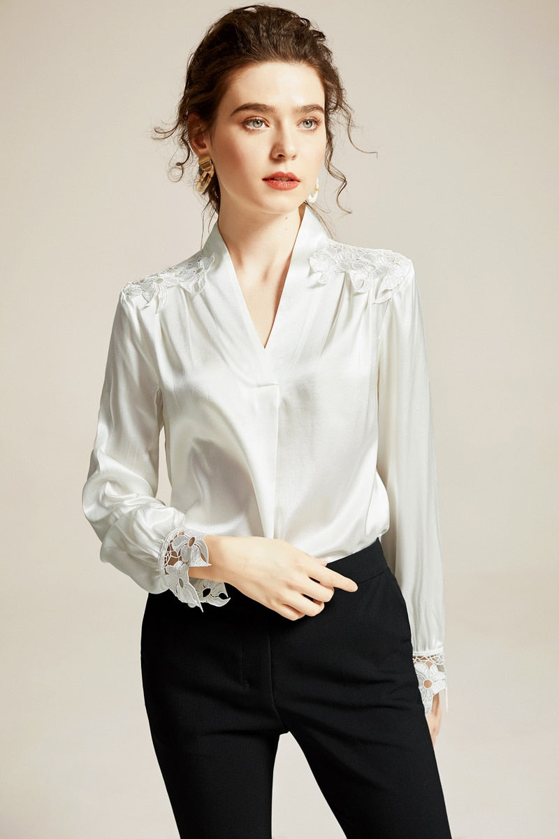100% Natural Silk Women's Runway Shirts Sexy V Neck Long Sleeves Embroidery Hollow Out Elegant Blouse Tops - Source Silk