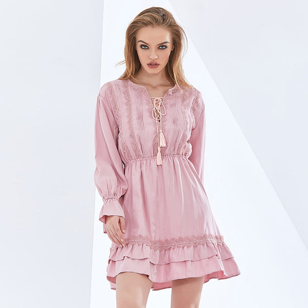 Elegant Solid Color Dress Women V Neck Long Sleeve High Waist Lace Up Bowknot Solid Dresses Female 2021 Summer New