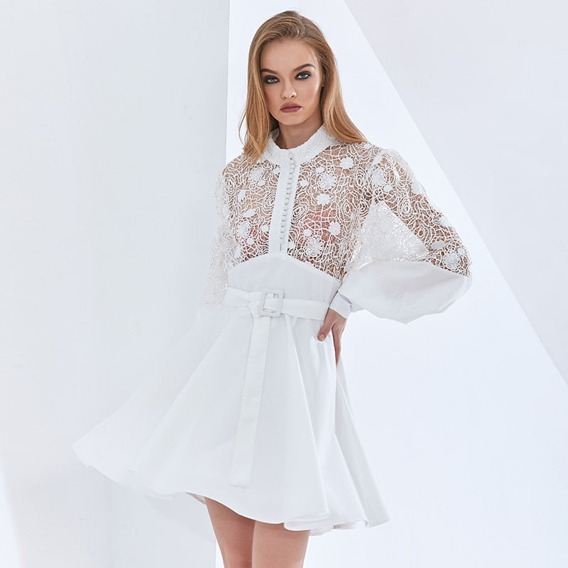 See Through White Dress For Women Stand Collar Lantern Sleeve High Waist Sashes Patchwork Lace Dresses Female New