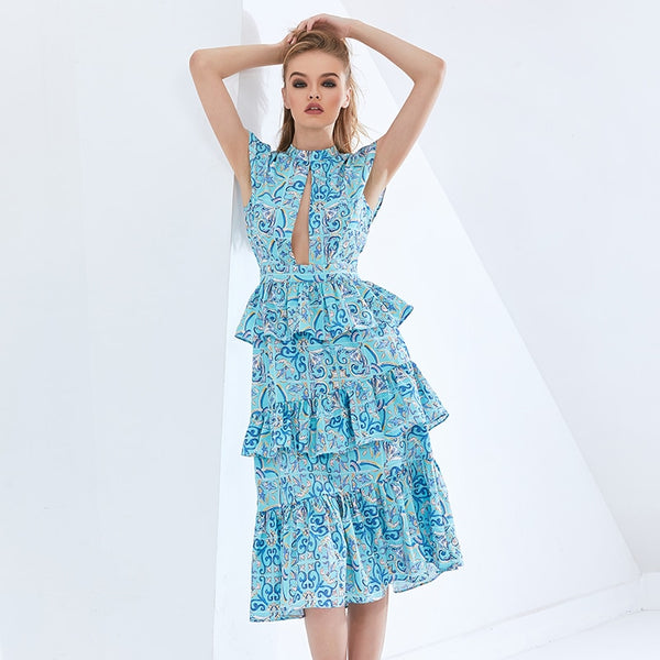 Print Geometric Ruffle Dress For Women Sleeveless High Waist Hollow Out Dresses Female Womens Cltothing 2021 New