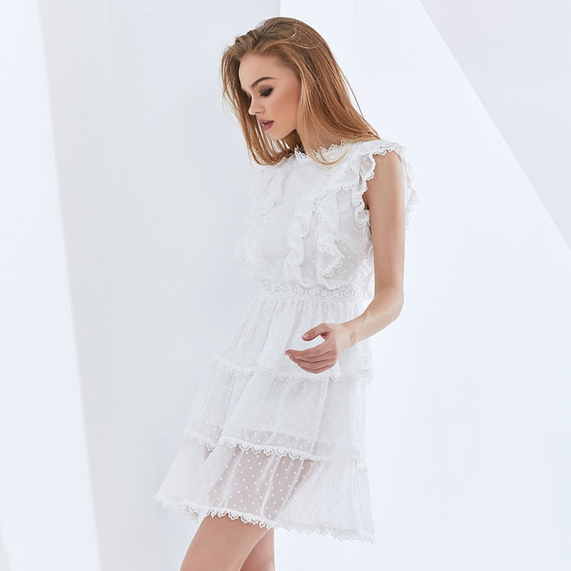 White Patchwork Lace Ruffle Summer Dress For Female Sleeveless High Waist Mesh Polka Dot Dresses Women 2021 Fashion