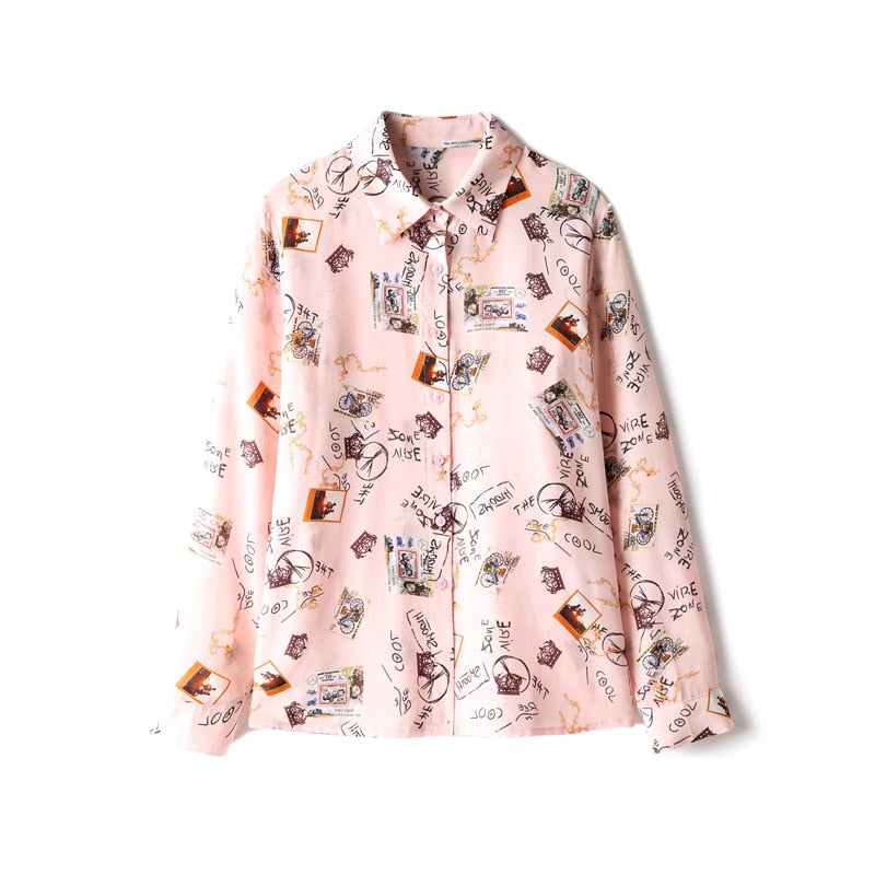 100% Pure Silk Women's Runway Shirts Turn Down Collar Cartoons Printed Long Sleeves Elegant Blouse Tops - Source Silk