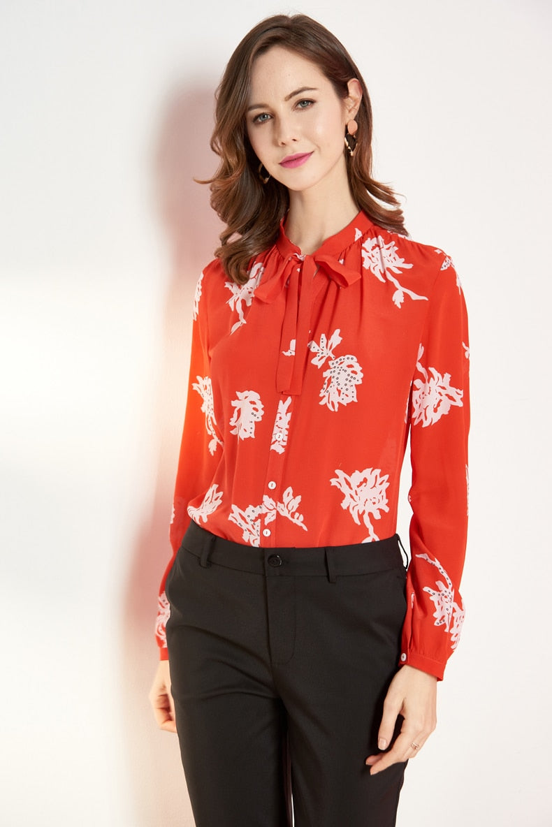 Large Floral Print Silk Blouse - Source Silk