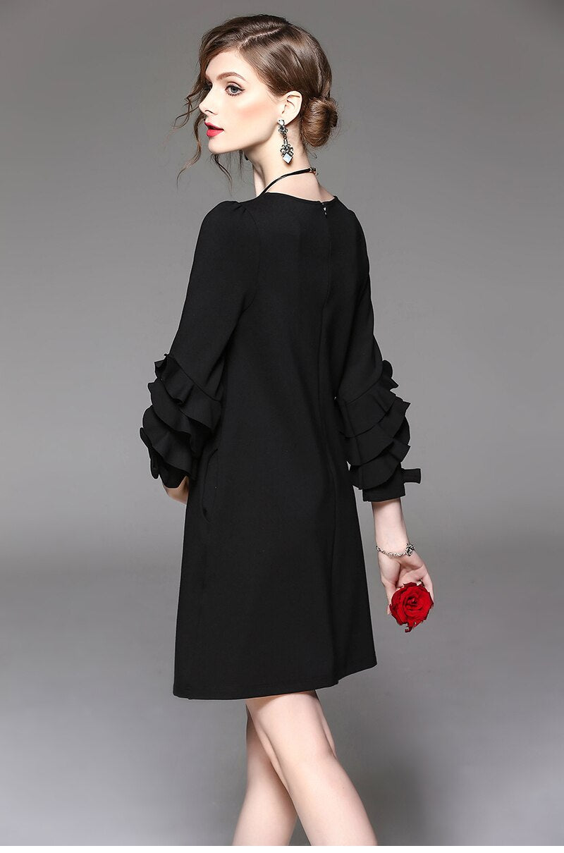 Ruffle Sleeve Shift Dress - Source Silk