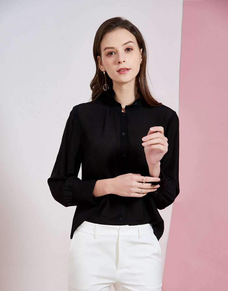 100% Silk Women's Shirt Stand Collar Beaded Long Sleeves Ruffles Elegant Casual Shirt Blouse - Source Silk