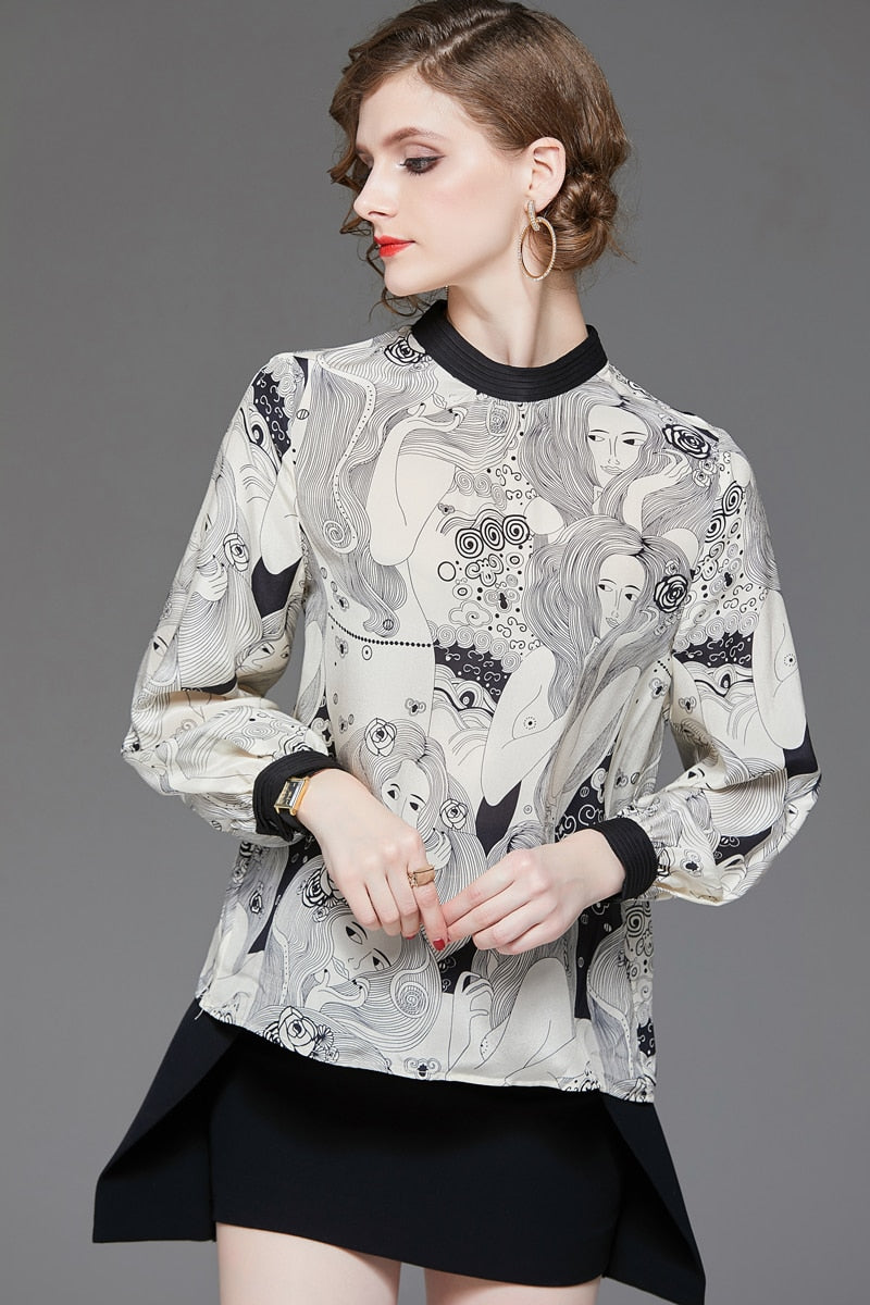 100% Pure Silk Women's Runway Shirts O Neck Long Sleeves Characters Printed Elegant Pullover Blouse Shirt - Source Silk