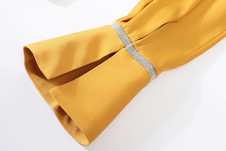 100% Pure Silk Women's Runway Shirts Bow Collar Long Sleeves Beaded Fashion Casual Shirt Blouse - Source Silk