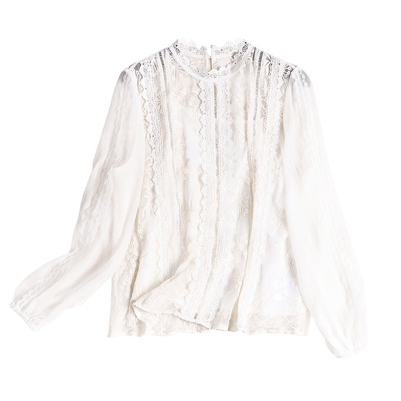 100% Silk Women's Runway Shirt Stand Collar Long Sleeves Embroidery Lace Elegant Pullover Fashion Blouse Shirt - Source Silk