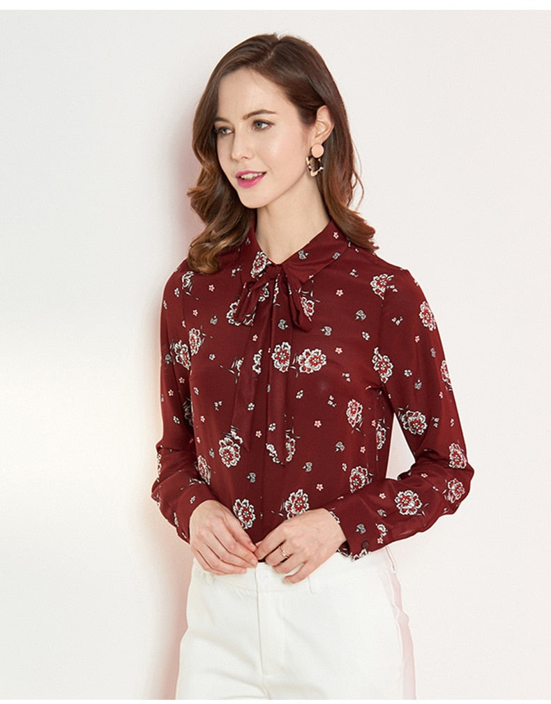 Crimson Bow Tie Blouse - Source Silk
