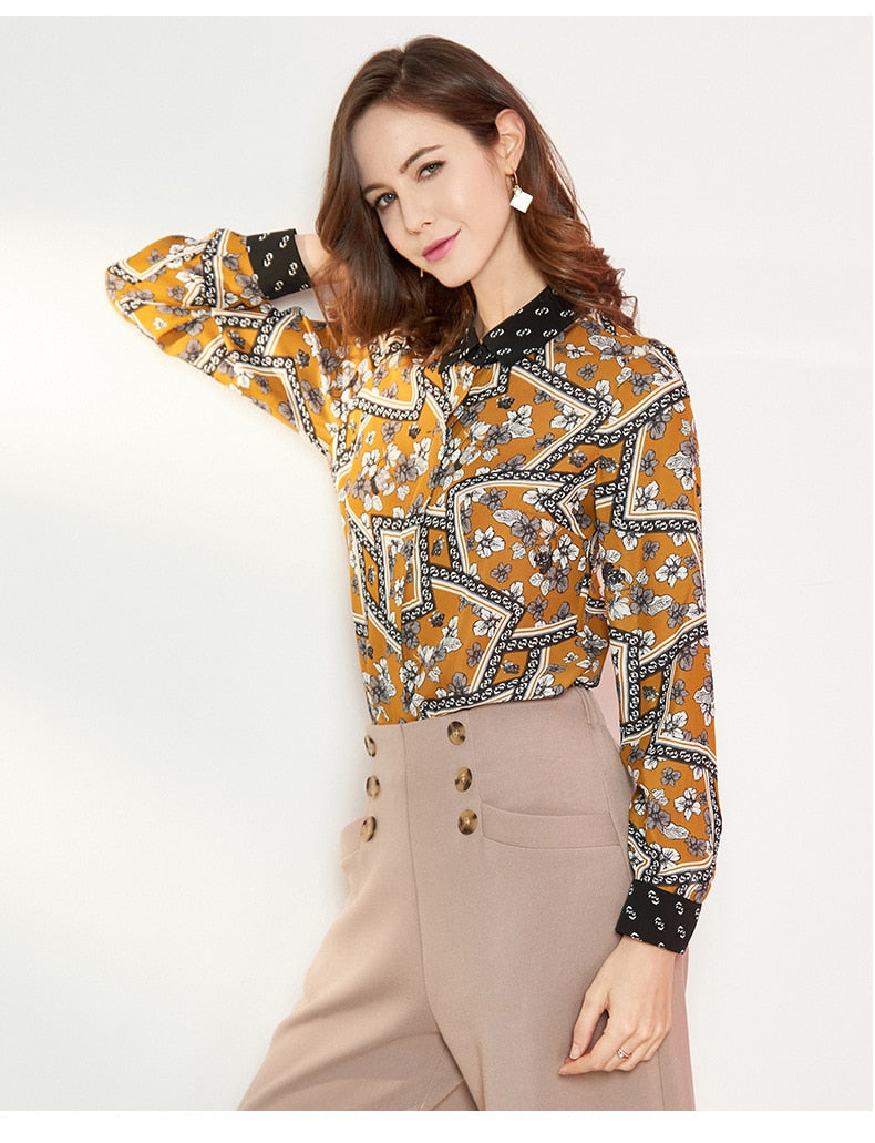 100% Pure Silk Women's Runway Shirts Turn Down Collar Printed Long Sleeves Elegant Fashion Casual Shirts Blouses in Two Colors