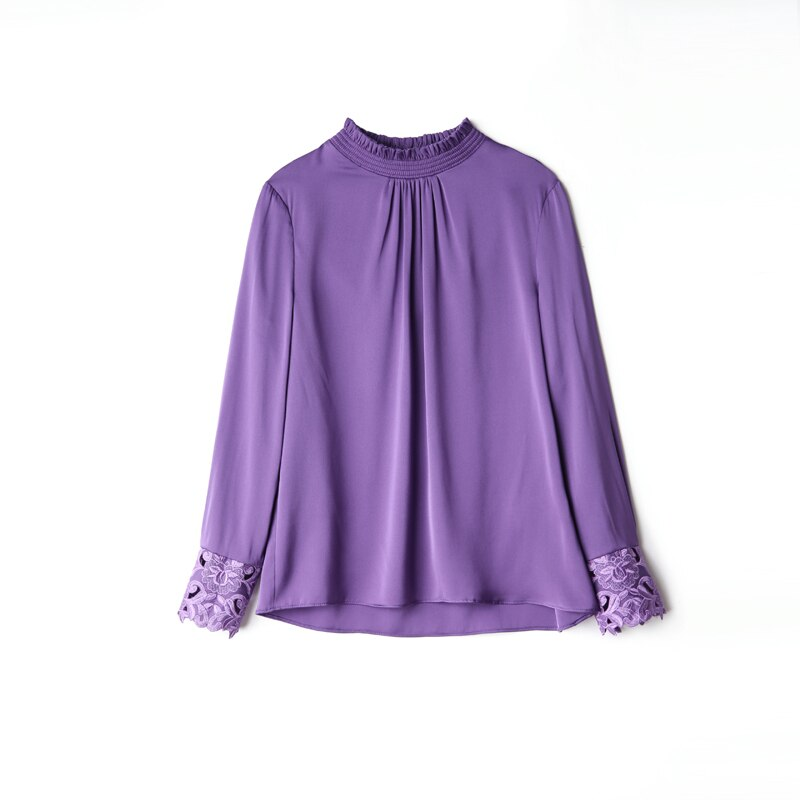 100% Pure Silk Women's Runway Shirts O Neck Ruffles Embroidery Sleeves Elegant Pullover Blouse Shirt Tops - Source Silk