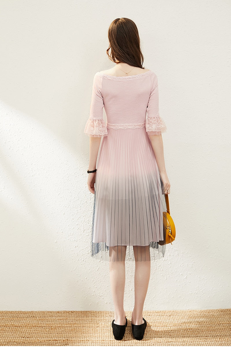 Gray and Pink Ombre Mesh Dress - Source Silk
