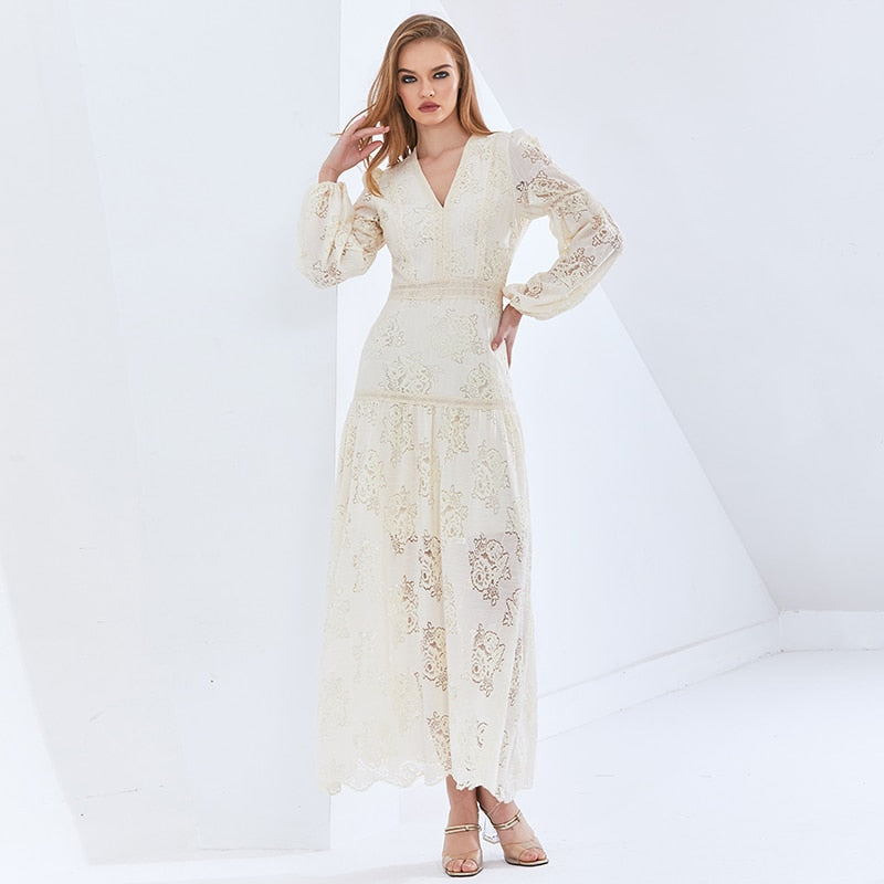 Vintage Patchwork Lace Perspective Dress For Female Lantern Sleeves High Waist Oversized Dresses Female New 2021
