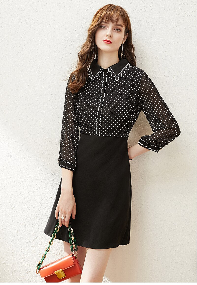 Polka Dot and Ruffle Chiffon Dress - Source Silk