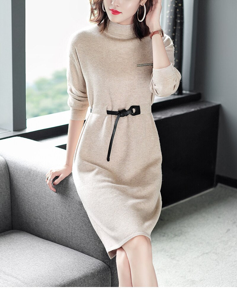 Spring Autumn Winter Office Lady Knitted Dress Elegant Long Sleeve Turtleneck Solid Sashes Slim Women Sweater Dress Orange Beige - Source Silk