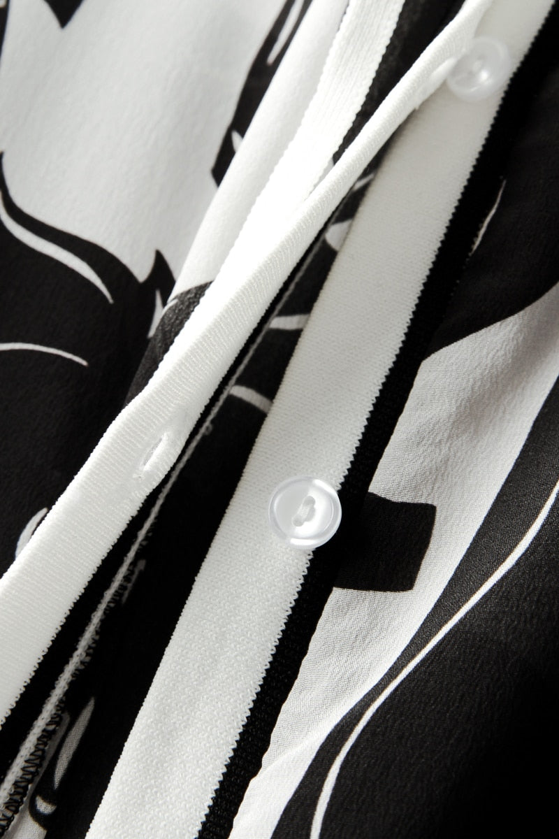 Black and White Horse Patterned Jacket - Source Silk