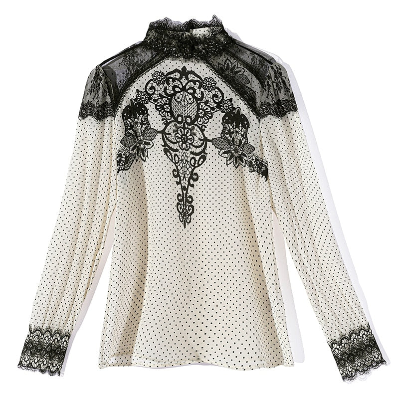 100% Pure Silk Women's Runway Shirts Stand Collar Long Sleeves Embroidery Lace Patchwork Dots Printed Fashion Pullover Blouse - Source Silk