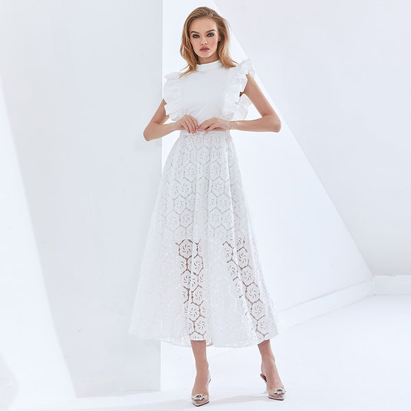 White Hollow Out Women Dress Stand Collar Short Sleeve High Waist Elegant Dresses Female  Autumn New Clothing