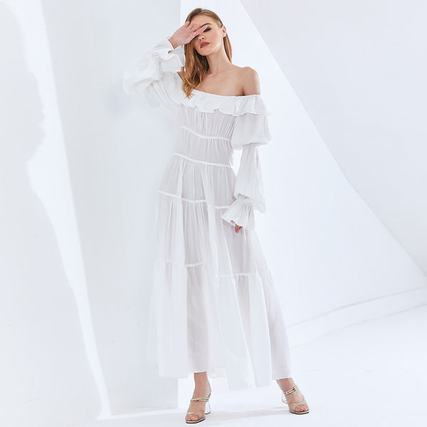 White Elegant Maxi Dress For Women Slash Neck Lantern Sleeve High Waist Dresses Female Fashion Clothing  Style
