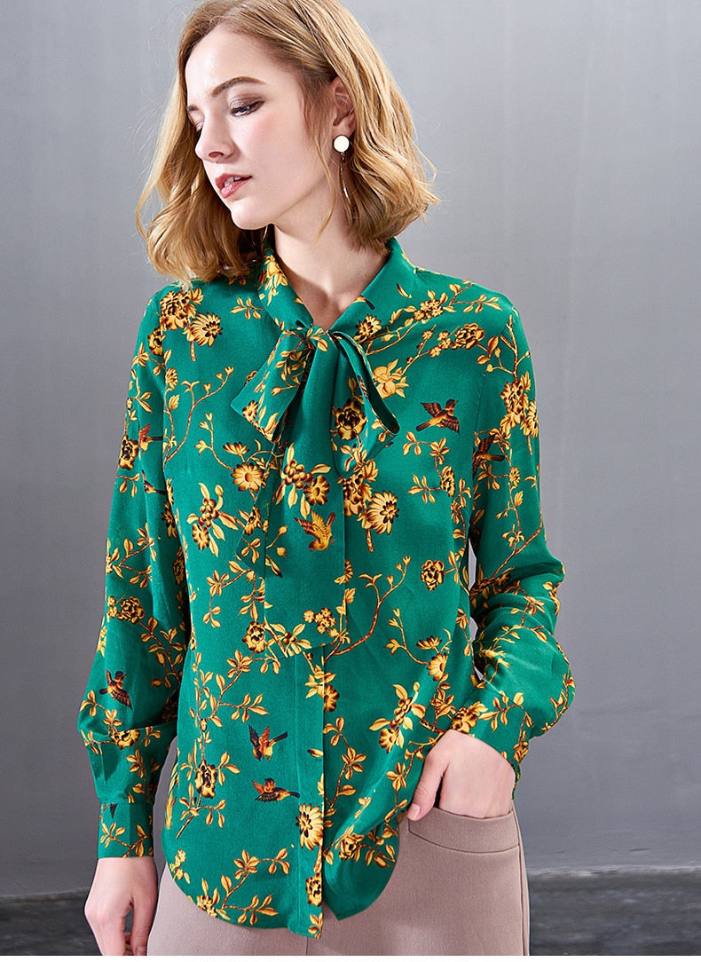 100% Pure Silk Women's Shirts Lace Up Bow Collar Long Sleeves Floral Printed Elegant Fashion Blouse Shirt - Source Silk