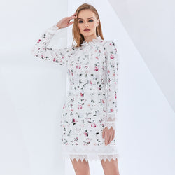 Elegant Print Floral Summer Dress For Women Long Sleeve Patchwork Lace High Waist Sexy Party Dresses Female 2021
