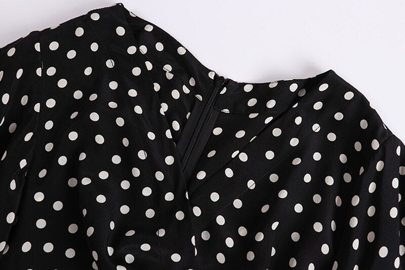 100% Silk Women's Runway Jumpsuit Sexy V Neck Ruffles Polka Dots Printed Fashion Short Rompers - Source Silk