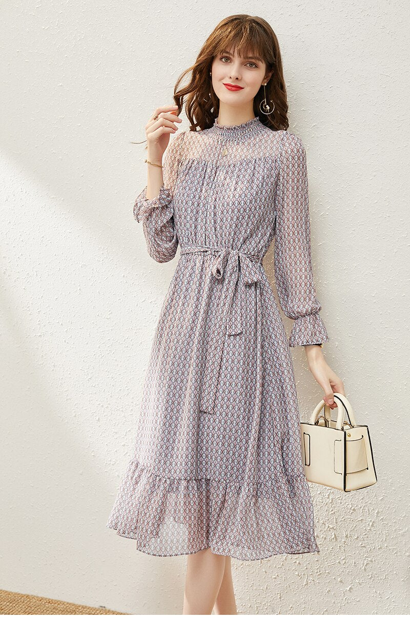 Chiffon Ruffled Dress - Source Silk
