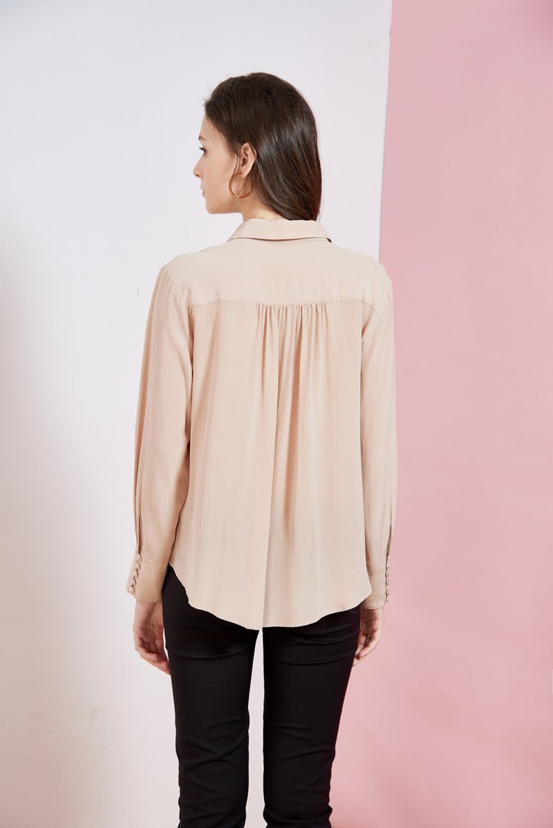 Solid Color Silk Blouse - Source Silk