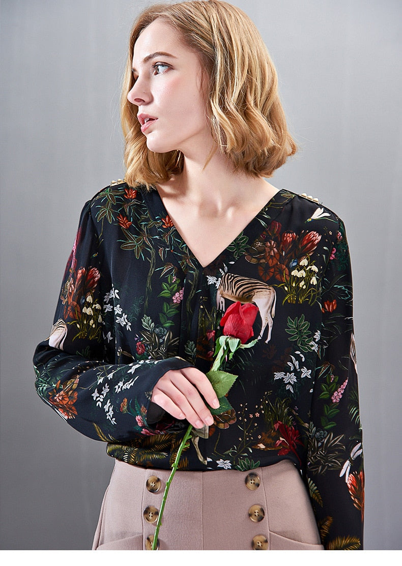 100% Pure Silk Women's Shirts Sexy V Neck Long Sleeves Floral Animals Printed Fashion Pullover Blouse Shirt - Source Silk