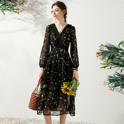 Ladies Vintage Dot Print Chiffon Dresses Spring Summer Elegant Fashion V-neck Long Sleeve Black High Waist Women Long Dress - Source Silk