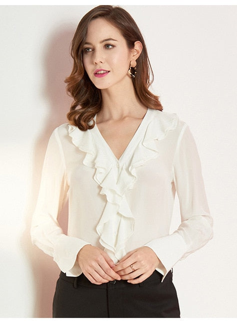 Long Sleeved Ruffled V-Neck Blouse - Source Silk