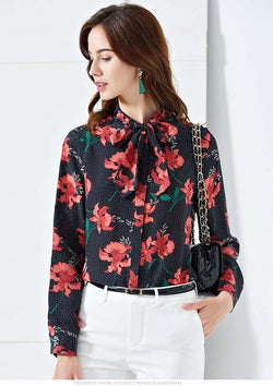 Bow Collar Long Sleeve Floral Blouse - Source Silk