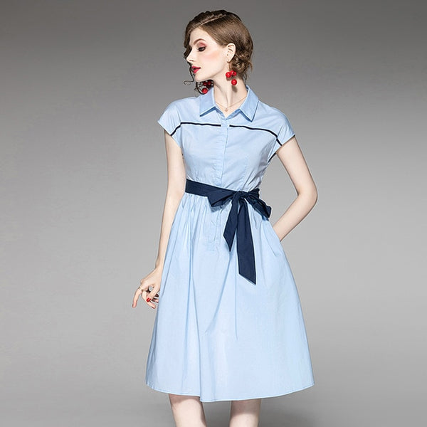 Turn Down Collar A-Line Dress - Source Silk