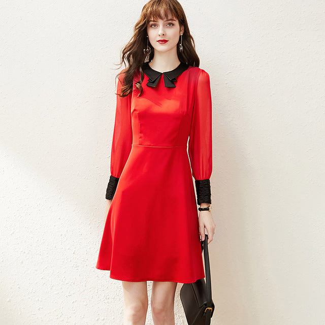 Elegant A-Line Dress with Turn Down Collar - Source Silk