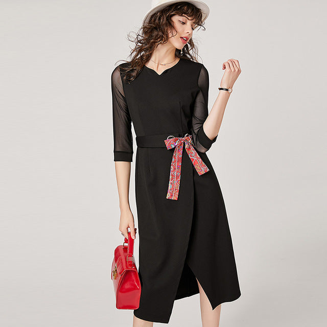V-Neck Mesh Three Quarter Length Sleeve Dress - Source Silk
