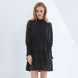 Black Lace Sexy Party Dress For Women Lantern Sleeve High Waist Elegant Oversized Dresses Female 2021 Autumn New