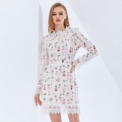 Print Floral Patchwork Mesh Lace Dress For Women Long Sleeve High Waist Slim Oversized Dresses Female 2021 Fashon