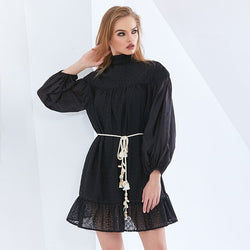 Ruffle Lantern Sleeve Summer Dress For Women Perspective High Waist Belt oversized Dresses Female Clothing 2021 New